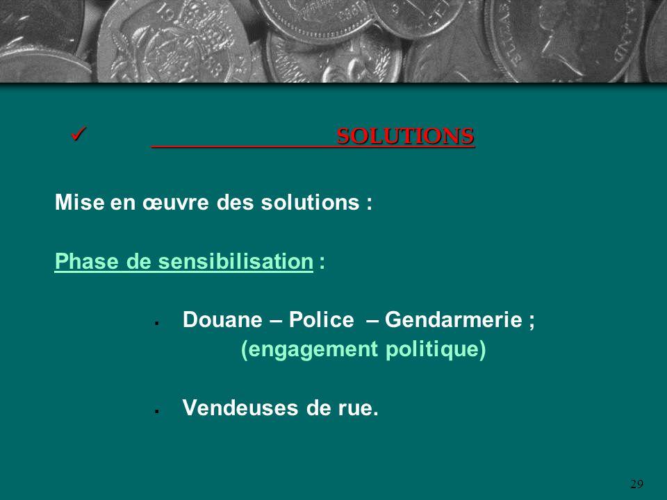 29 SOLUTIONS SOLUTIONS Mise en œuvre des solutions : Phase de sensibilisation : Douane – Police – Gendarmerie ; (engagement politique) Vendeuses de ru