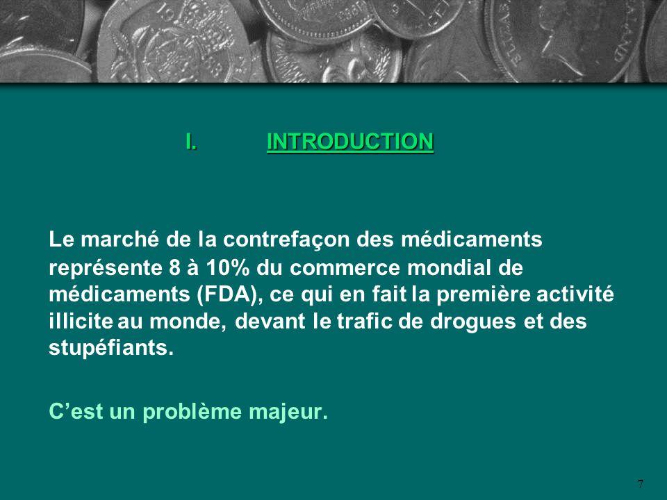 7 I.INTRODUCTION Le marché de la contrefaçon des médicaments représente 8 à 10% du commerce mondial de médicaments (FDA), ce qui en fait la première a