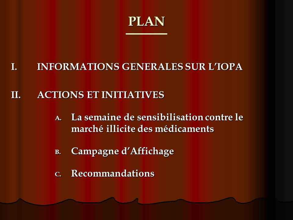 PLAN I.INFORMATIONS GENERALES SUR LIOPA II.ACTIONS ET INITIATIVES A.