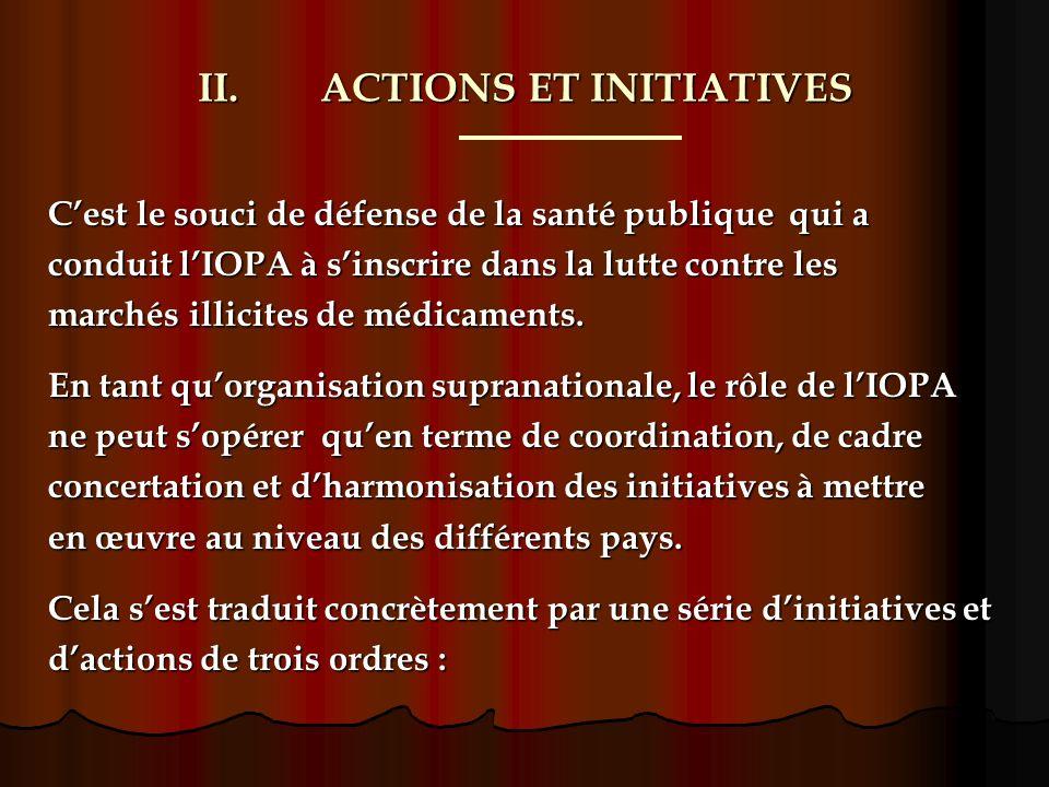 II.ACTIONS ET INITIATIVES Cest le souci de défense de la santé publique qui a conduit lIOPA à sinscrire dans la lutte contre les marchés illicites de médicaments.