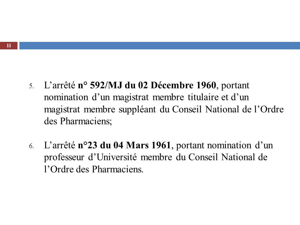 5. Larrêté n° 592/MJ du 02 Décembre 1960, portant nomination dun magistrat membre titulaire et dun magistrat membre suppléant du Conseil National de l