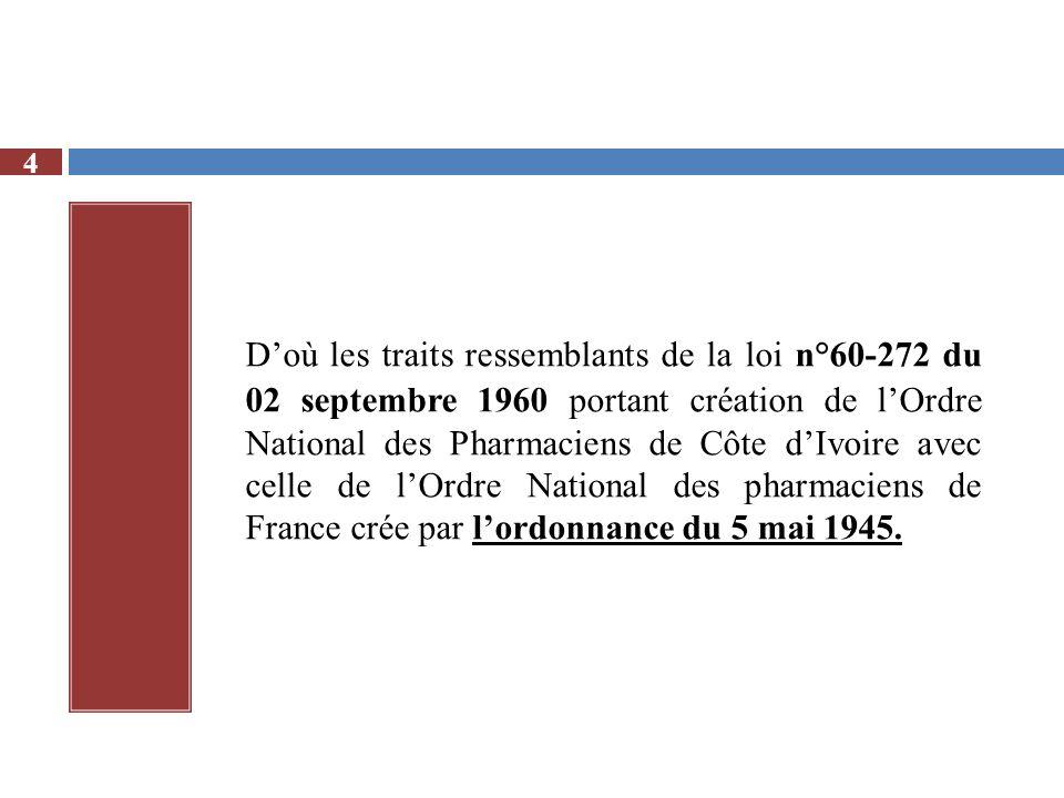 Doù les traits ressemblants de la loi n°60-272 du 02 septembre 1960 portant création de lOrdre National des Pharmaciens de Côte dIvoire avec celle de