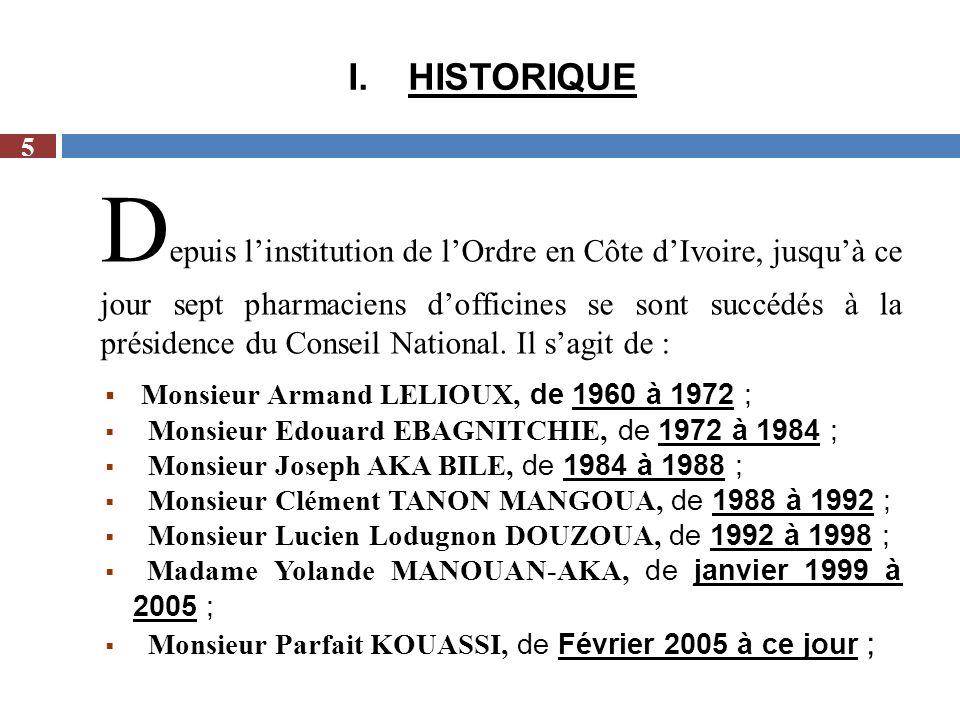 I.HISTORIQUE D epuis linstitution de lOrdre en Côte dIvoire, jusquà ce jour sept pharmaciens dofficines se sont succédés à la présidence du Conseil Na