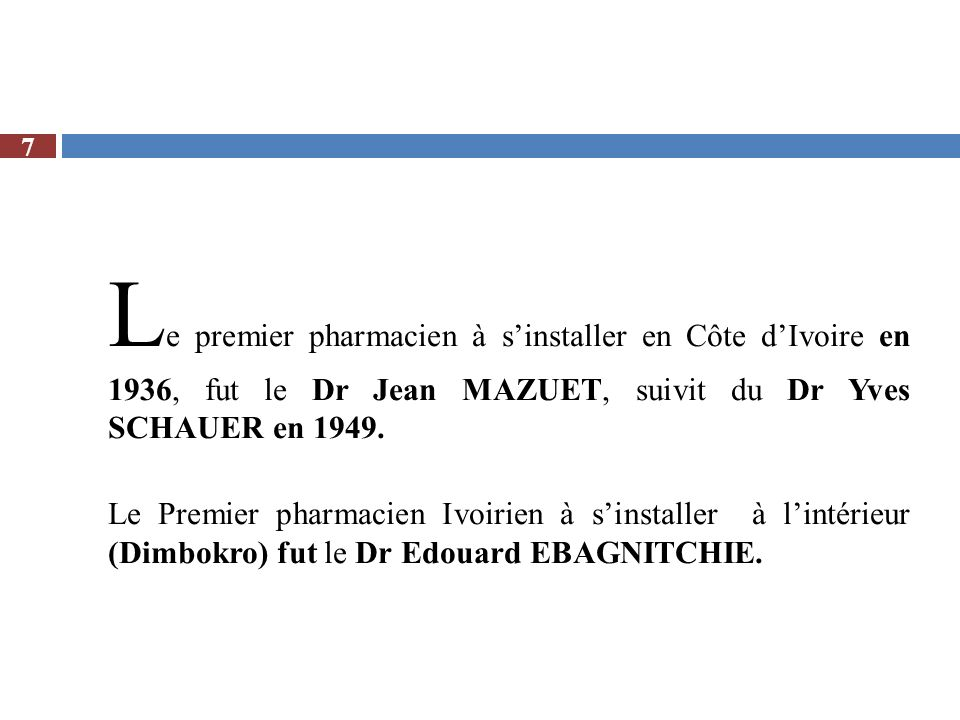 U ne note circulaire n°2154/ SD.PH du 16 novembre 1960, portant résultat des élections du Premier Conseil de lOrdre des Pharmaciens le 13 novembre 1960, signé par le Directeur de la Santé Publique et de la Population de lépoque, Dr RODALLEC, sanctionne les résultats de lélection ordinale : Elus pour la section A: MM.