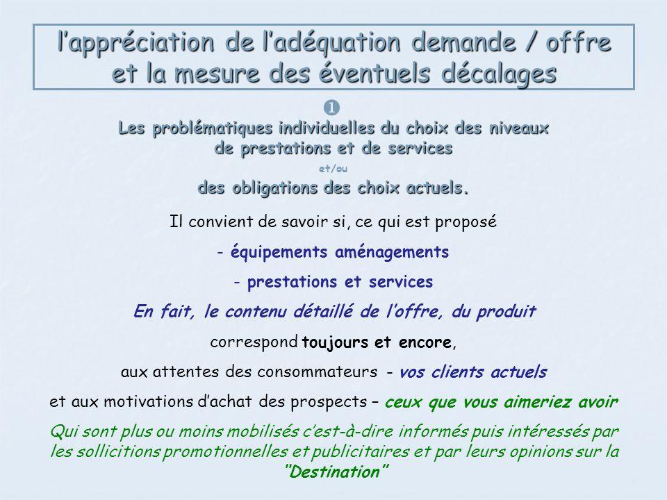 lappréciation de ladéquation demande / offre et la mesure des éventuels décalages Les problématiques individuelles du choix des niveaux de prestations