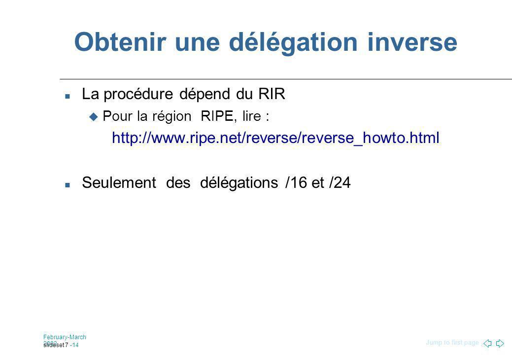 Jump to first page February-March 2002 slideset 7 -14 Obtenir une délégation inverse La procédure dépend du RIR Pour la région RIPE, lire : http://www.ripe.net/reverse/reverse_howto.html Seulement des délégations /16 et /24