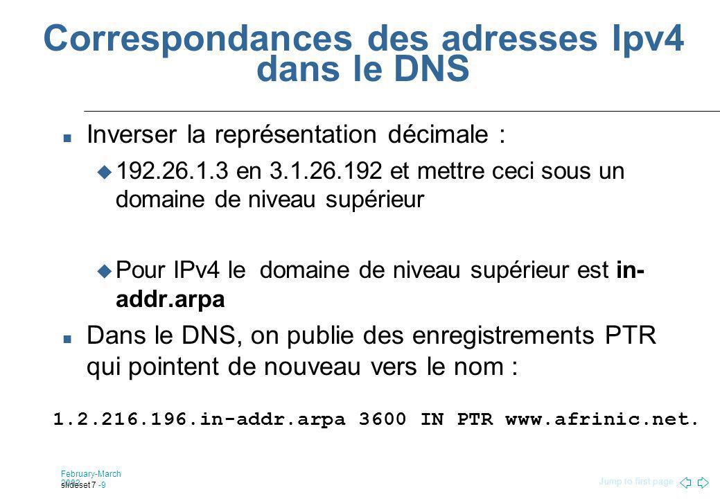 Jump to first page February-March 2002 slideset 7 -9 Correspondances des adresses Ipv4 dans le DNS Inverser la représentation décimale : 192.26.1.3 en 3.1.26.192 et mettre ceci sous un domaine de niveau supérieur Pour IPv4 le domaine de niveau supérieur est in- addr.arpa Dans le DNS, on publie des enregistrements PTR qui pointent de nouveau vers le nom : 1.2.216.196.in-addr.arpa 3600 IN PTR www.afrinic.net.