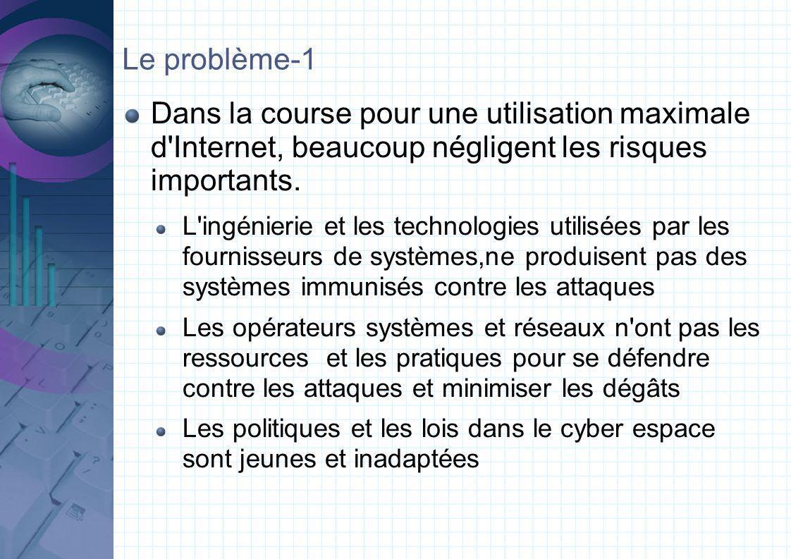Le problème-1 Dans la course pour une utilisation maximale d Internet, beaucoup négligent les risques importants.