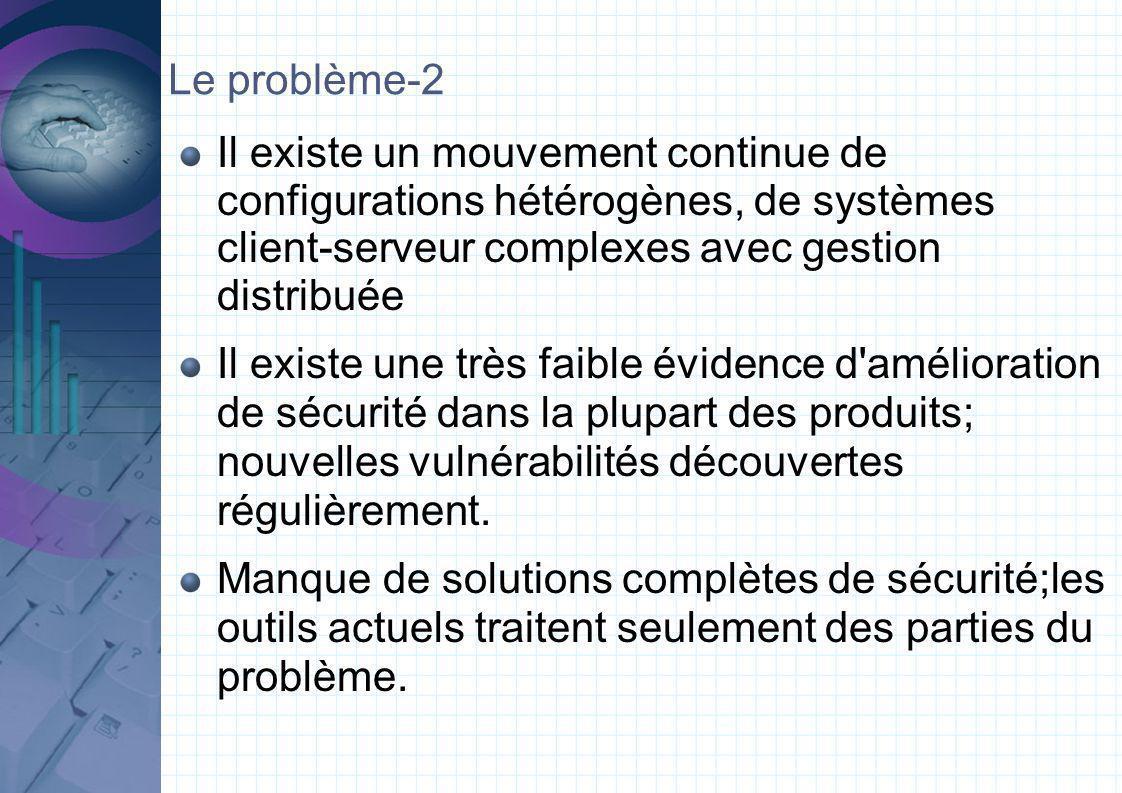 Le problème-2 Il existe un mouvement continue de configurations hétérogènes, de systèmes client-serveur complexes avec gestion distribuée Il existe une très faible évidence d amélioration de sécurité dans la plupart des produits; nouvelles vulnérabilités découvertes régulièrement.