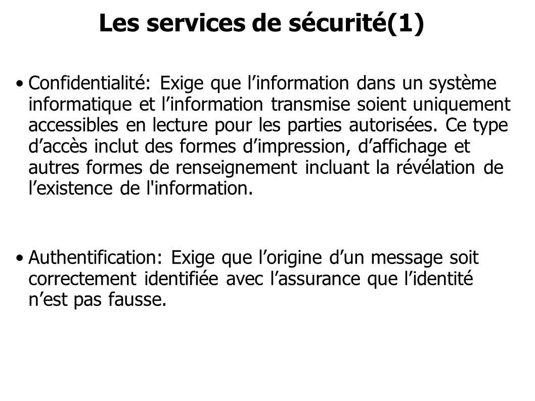 Les services de sécurité(1) Confidentialité: Exige que linformation dans un système informatique et linformation transmise soient uniquement accessibl