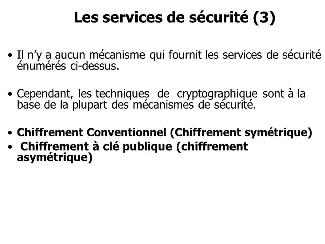 Les services de sécurité (3) Il ny a aucun mécanisme qui fournit les services de sécurité énumérés ci-dessus. Cependant, les techniques de cryptograph