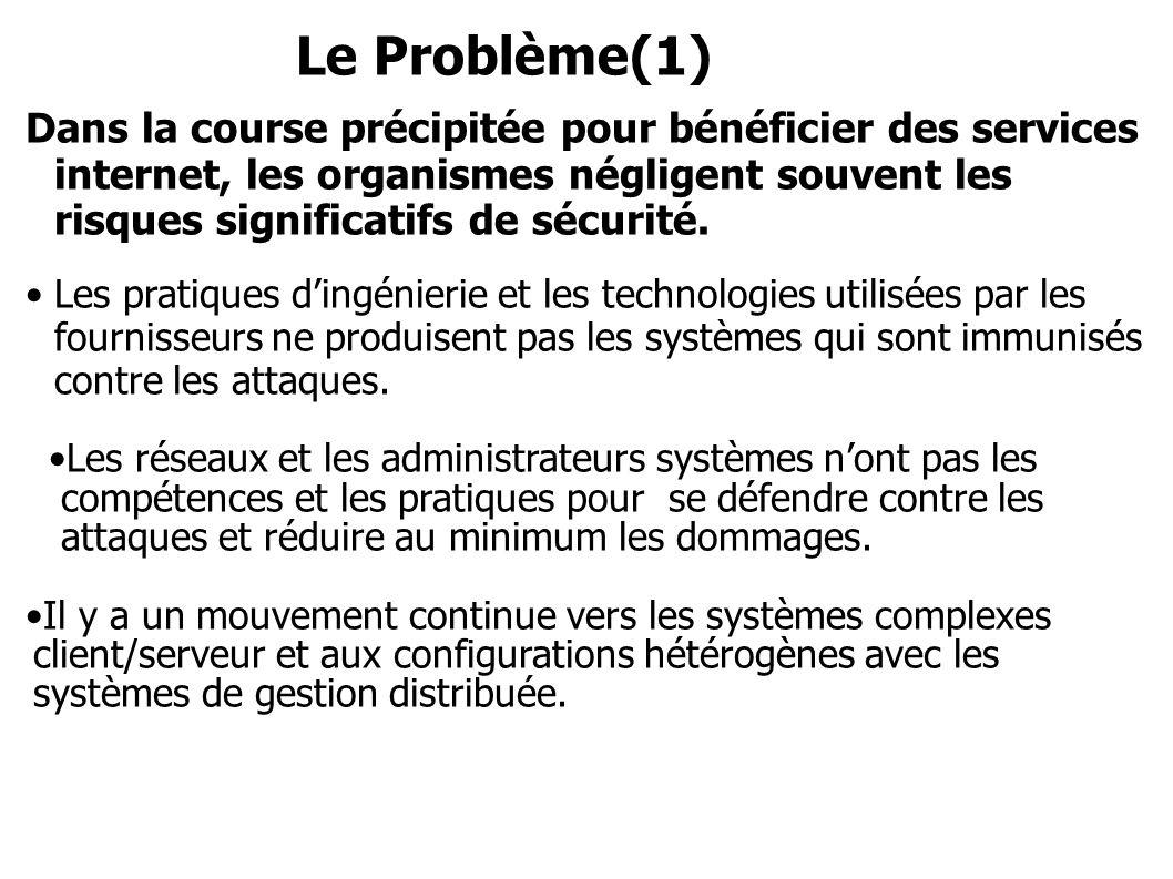 Le Problème(1) Dans la course précipitée pour bénéficier des services internet, les organismes négligent souvent les risques significatifs de sécurité