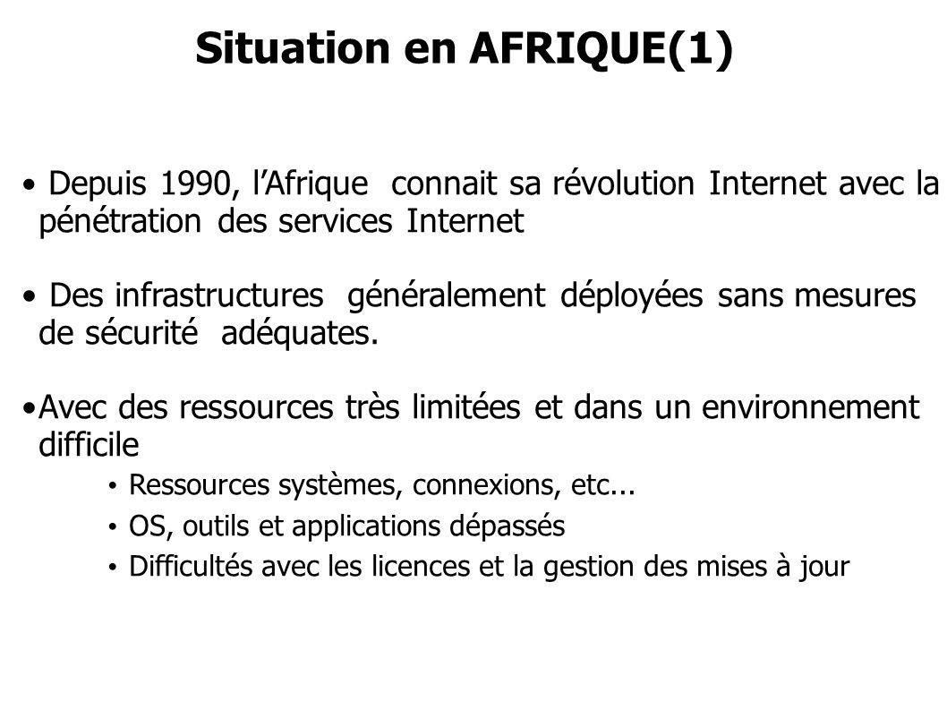 Depuis 1990, lAfrique connait sa révolution Internet avec la pénétration des services Internet Des infrastructures généralement déployées sans mesures