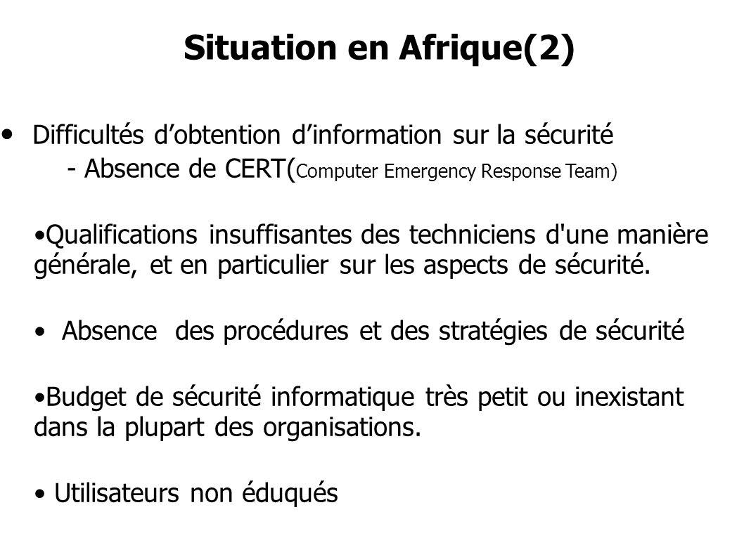 Difficultés dobtention dinformation sur la sécurité - Absence de CERT( Computer Emergency Response Team) Qualifications insuffisantes des techniciens