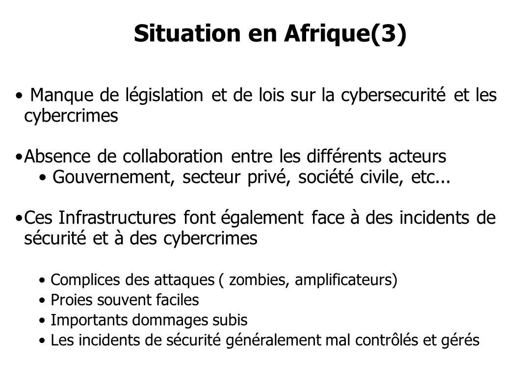 Manque de législation et de lois sur la cybersecurité et les cybercrimes Absence de collaboration entre les différents acteurs Gouvernement, secteur p