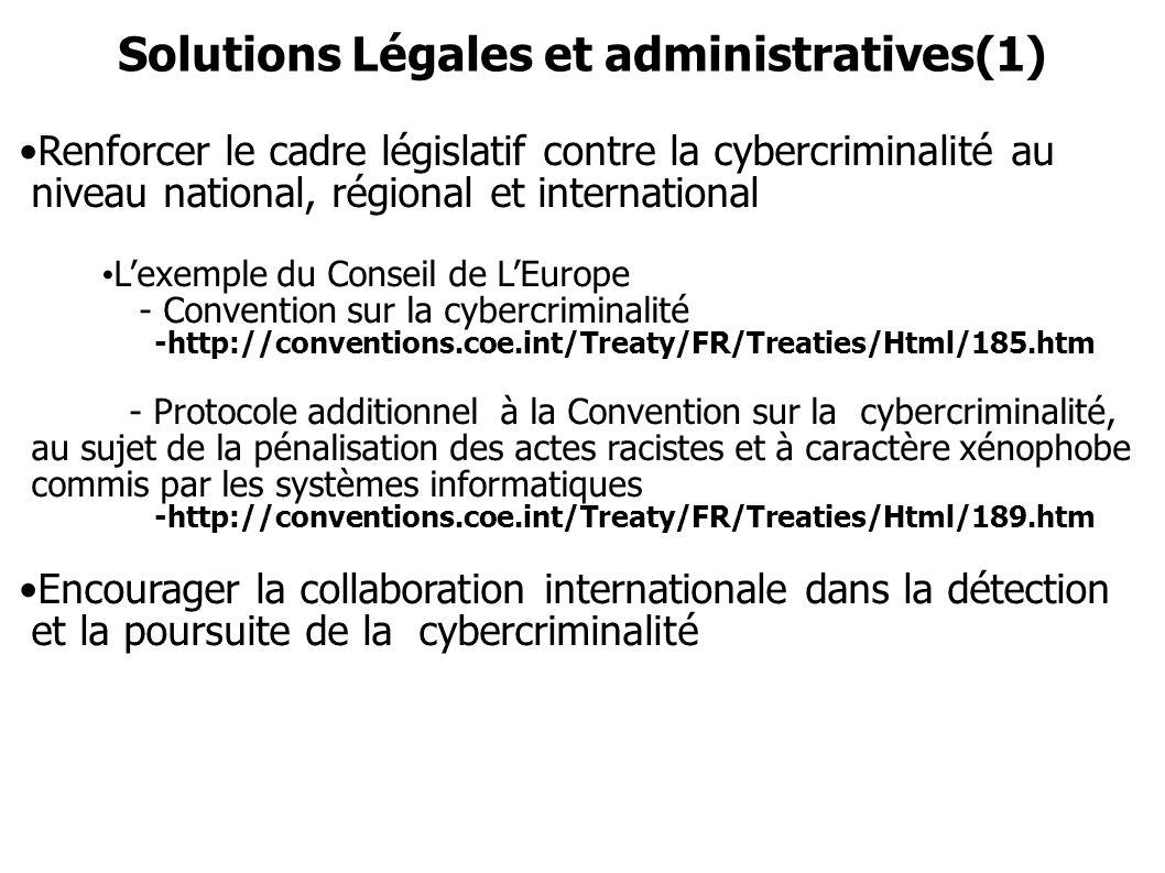 Solutions Légales et administratives(1) Renforcer le cadre législatif contre la cybercriminalité au niveau national, régional et international Lexempl