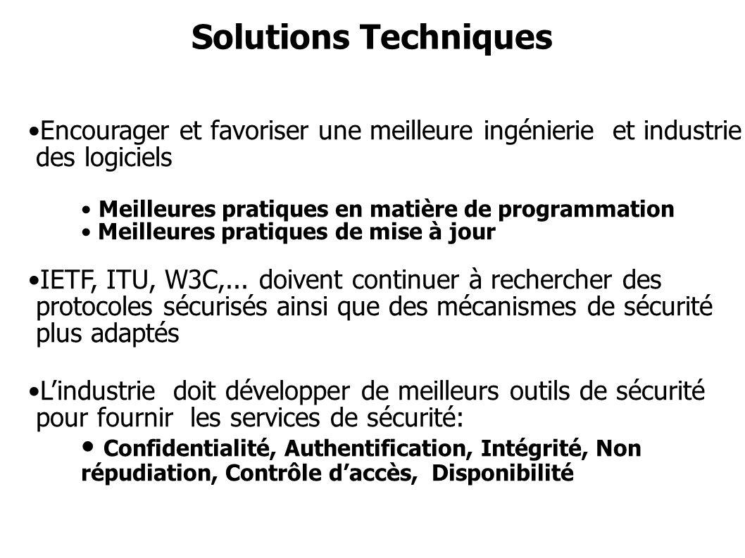 Solutions Techniques Encourager et favoriser une meilleure ingénierie et industrie des logiciels Meilleures pratiques en matière de programmation Meil