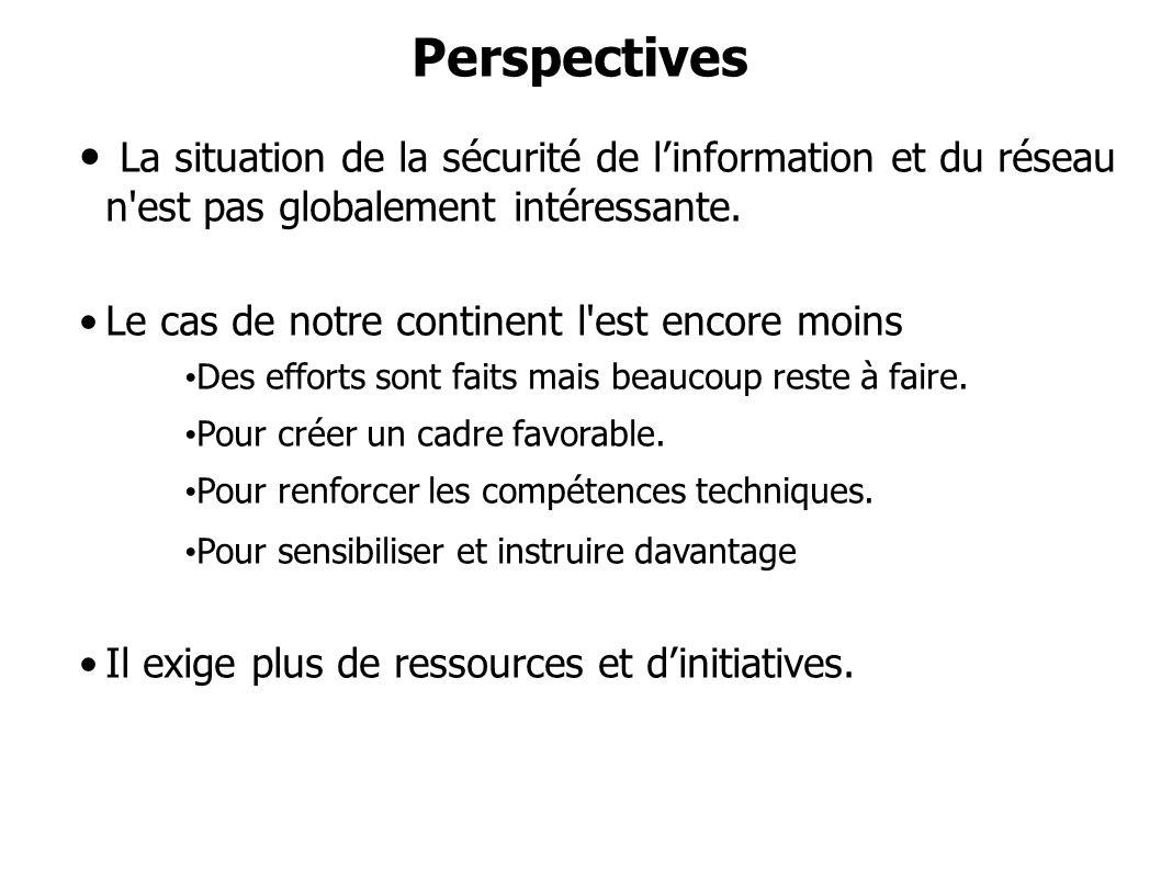 Perspectives La situation de la sécurité de linformation et du réseau n'est pas globalement intéressante. Le cas de notre continent l'est encore moins