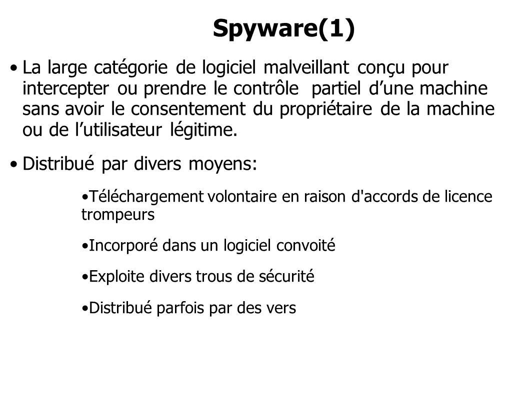 Spyware(1) La large catégorie de logiciel malveillant conçu pour intercepter ou prendre le contrôle partiel dune machine sans avoir le consentement du