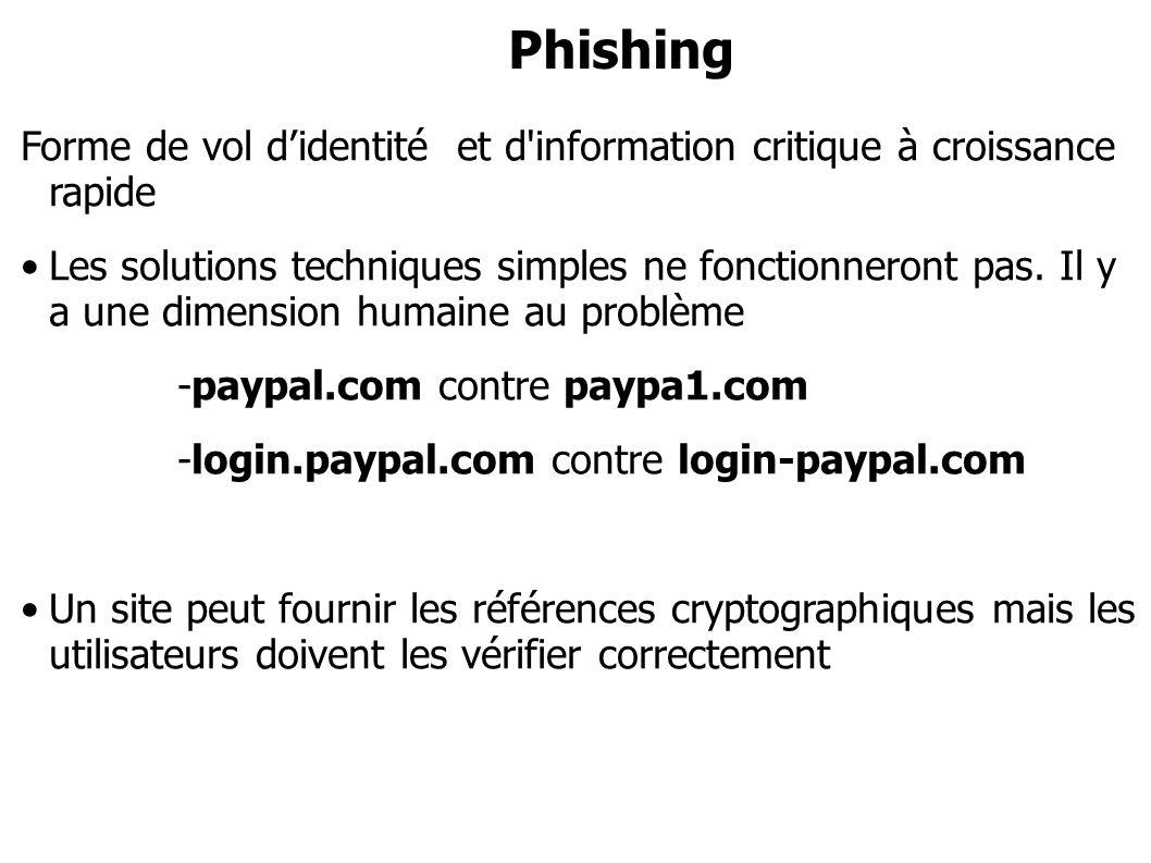 Phishing Forme de vol didentité et d'information critique à croissance rapide Les solutions techniques simples ne fonctionneront pas. Il y a une dimen
