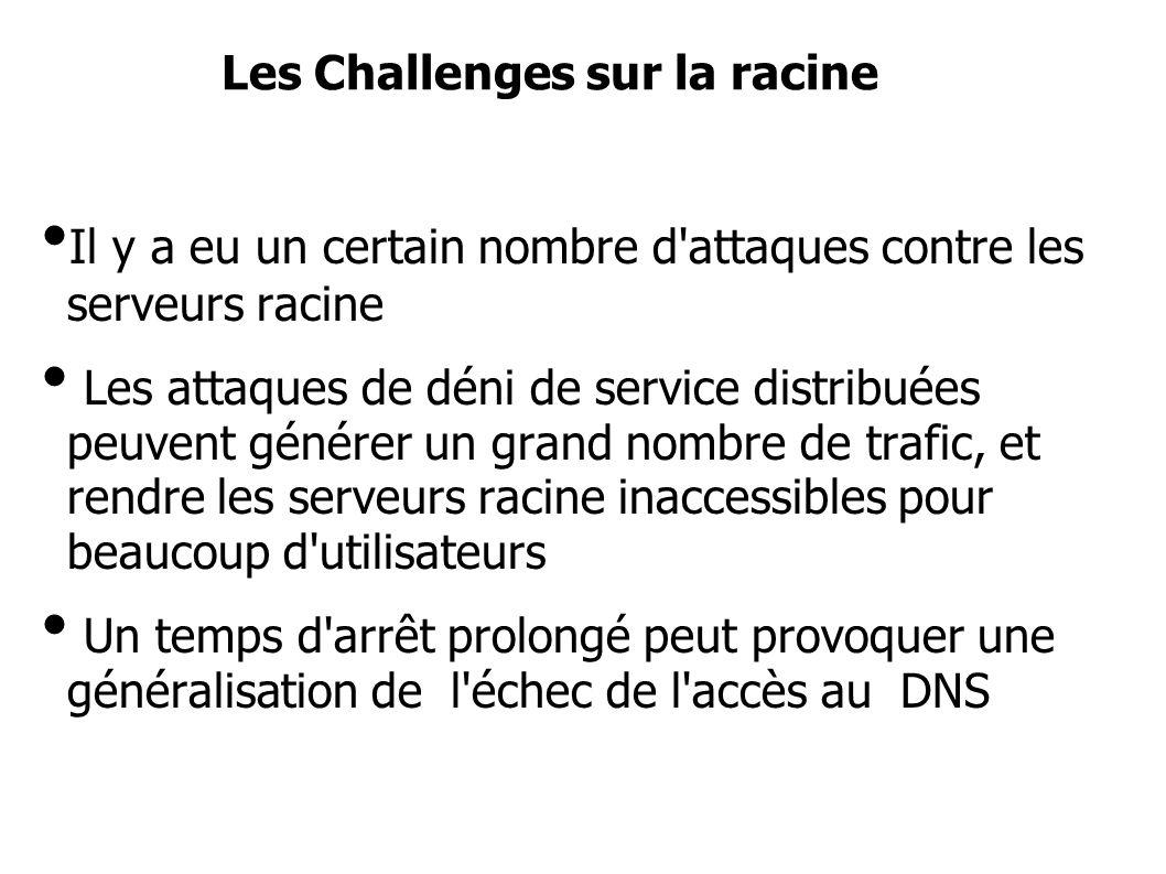 Les Challenges sur la racine Il y a eu un certain nombre d attaques contre les serveurs racine Les attaques de déni de service distribuées peuvent générer un grand nombre de trafic, et rendre les serveurs racine inaccessibles pour beaucoup d utilisateurs Un temps d arrêt prolongé peut provoquer une généralisation de l échec de l accès au DNS