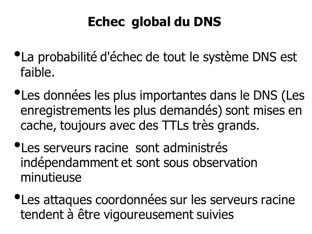 La probabilité d échec de tout le système DNS est faible.