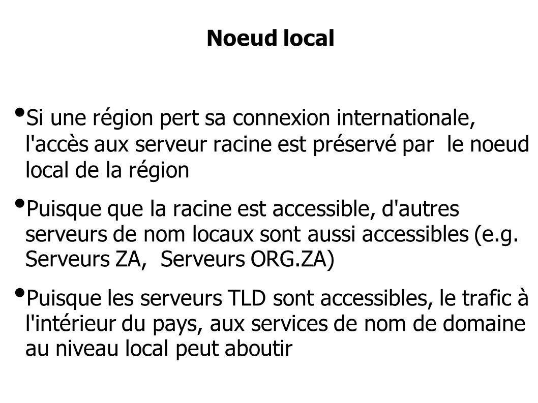Si une région pert sa connexion internationale, l accès aux serveur racine est préservé par le noeud local de la région Puisque que la racine est accessible, d autres serveurs de nom locaux sont aussi accessibles (e.g.