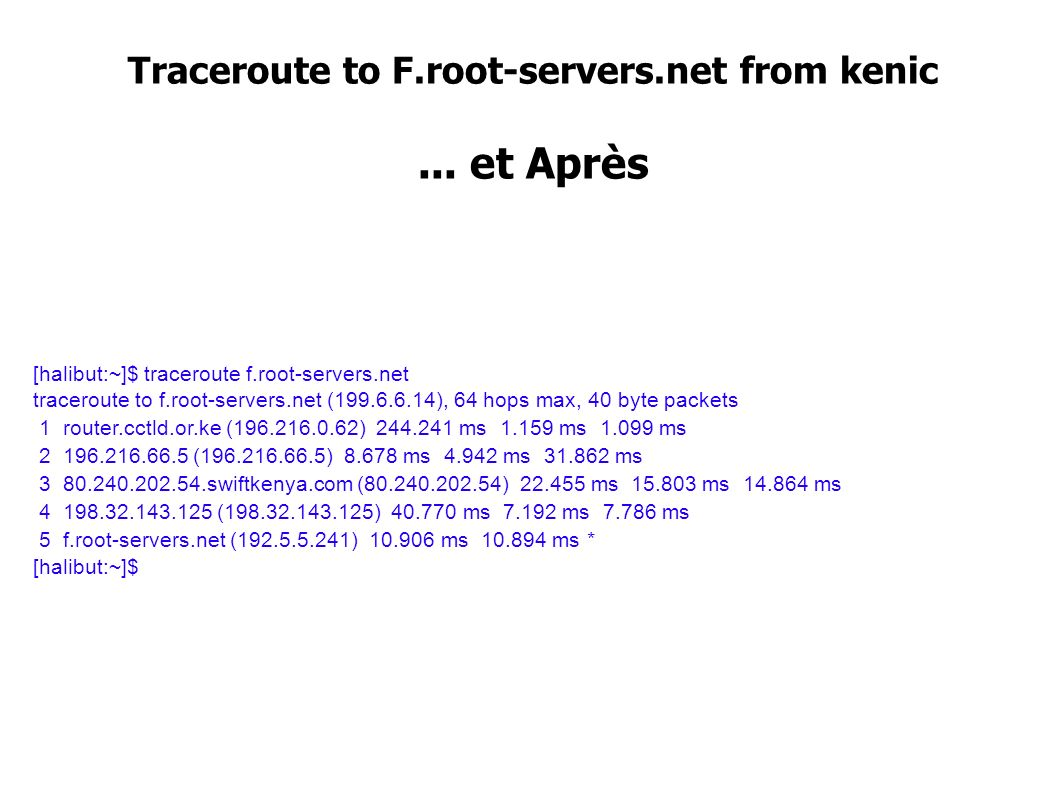 Traceroute to F.root-servers.net from kenic... et Après [halibut:~]$ traceroute f.root-servers.net traceroute to f.root-servers.net (199.6.6.14), 64 h