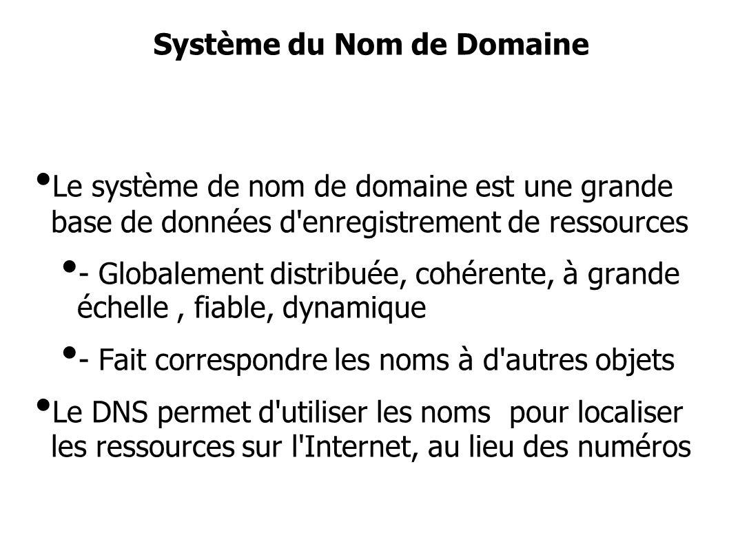 Le système de nom de domaine est une grande base de données d enregistrement de ressources - Globalement distribuée, cohérente, à grande échelle, fiable, dynamique - Fait correspondre les noms à d autres objets Le DNS permet d utiliser les noms pour localiser les ressources sur l Internet, au lieu des numéros Système du Nom de Domaine
