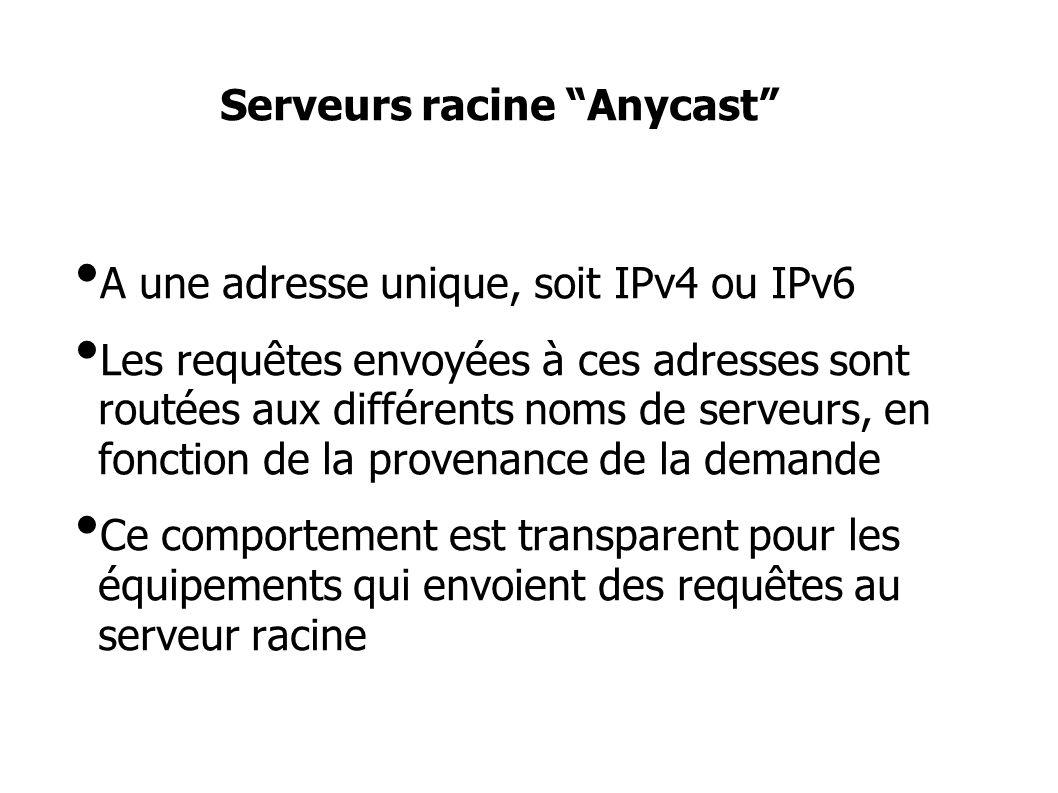 Serveurs racine Anycast A une adresse unique, soit IPv4 ou IPv6 Les requêtes envoyées à ces adresses sont routées aux différents noms de serveurs, en fonction de la provenance de la demande Ce comportement est transparent pour les équipements qui envoient des requêtes au serveur racine