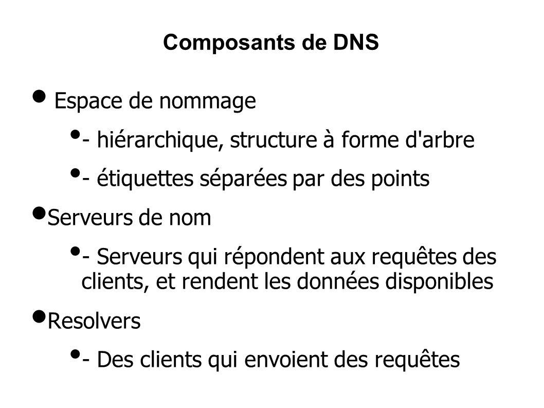 Espace de nommage - hiérarchique, structure à forme d arbre - étiquettes séparées par des points Serveurs de nom - Serveurs qui répondent aux requêtes des clients, et rendent les données disponibles Resolvers - Des clients qui envoient des requêtes Composants de DNS