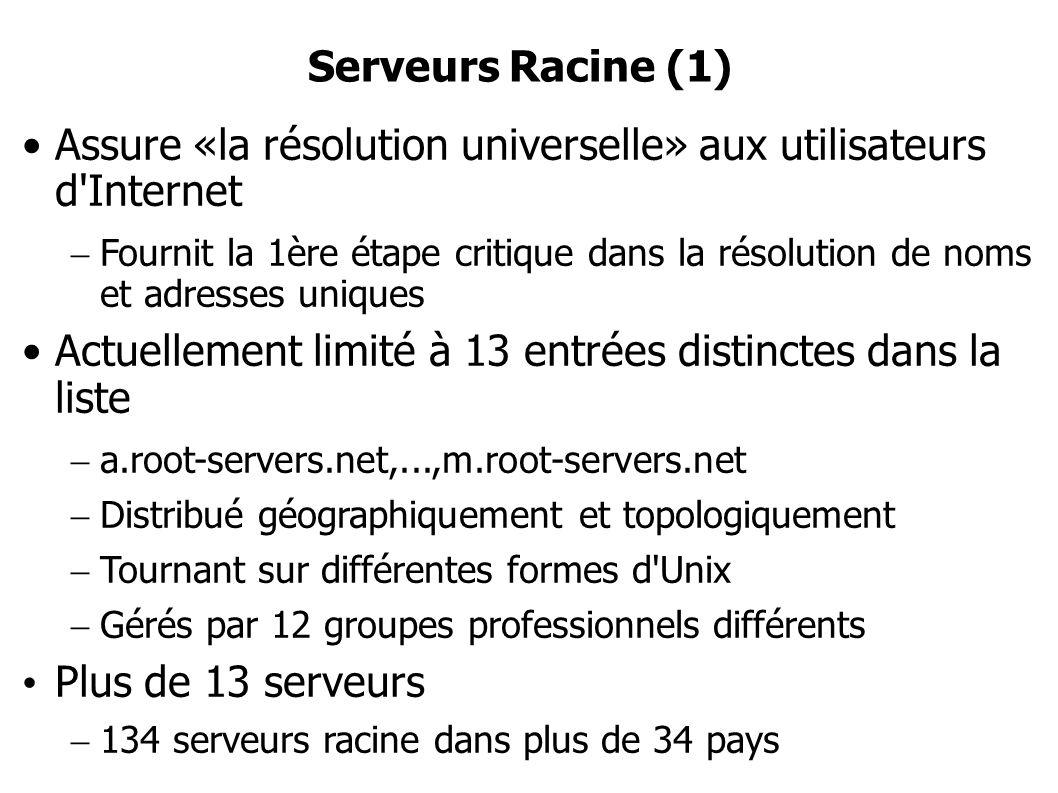 Serveurs Racine (1) Assure «la résolution universelle» aux utilisateurs d Internet Fournit la 1ère étape critique dans la résolution de noms et adresses uniques Actuellement limité à 13 entrées distinctes dans la liste a.root-servers.net,...,m.root-servers.net Distribué géographiquement et topologiquement Tournant sur différentes formes d Unix Gérés par 12 groupes professionnels différents Plus de 13 serveurs 134 serveurs racine dans plus de 34 pays