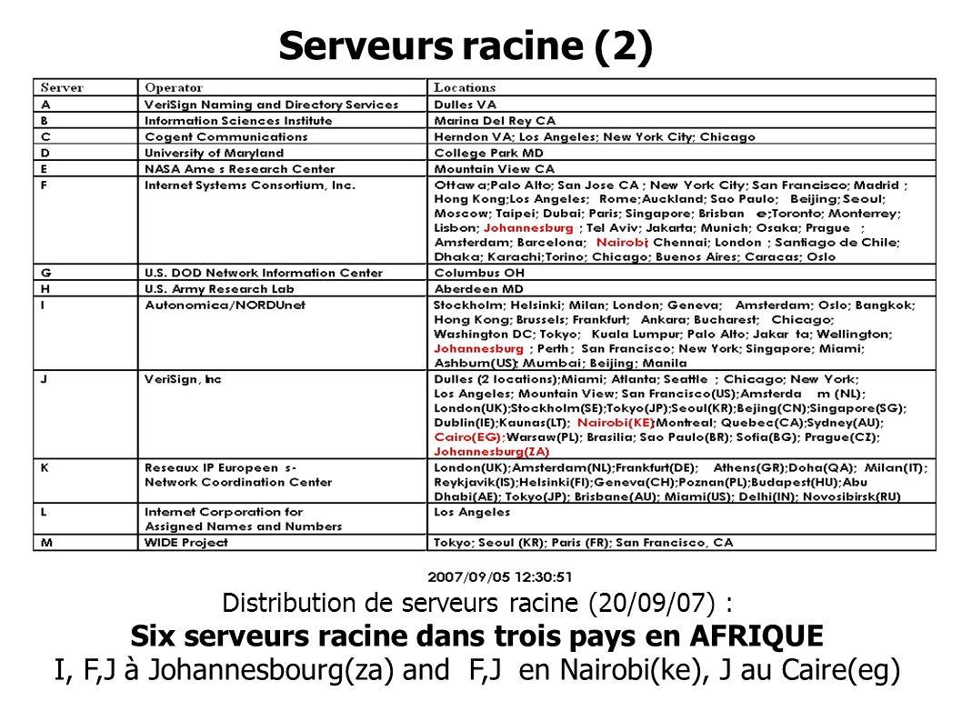 Serveurs racine (2) Distribution de serveurs racine (20/09/07) : Six serveurs racine dans trois pays en AFRIQUE I, F,J à Johannesbourg(za) and F,J en Nairobi(ke), J au Caire(eg)