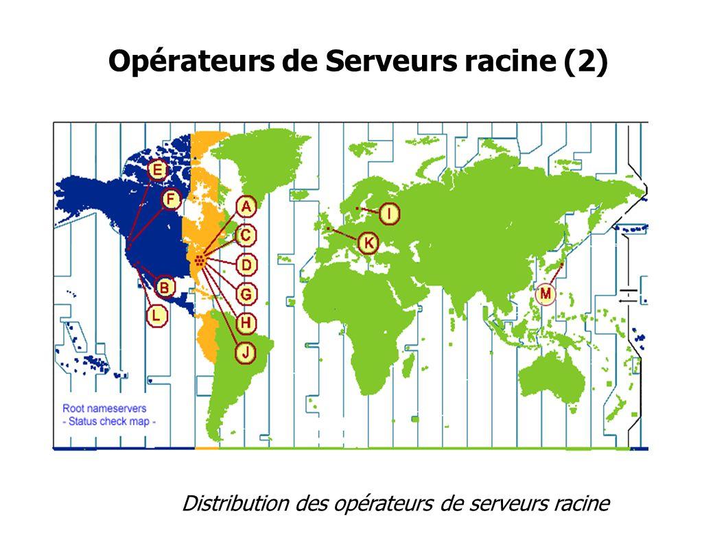 Opérateurs de Serveurs racine(3) Coordination avec ICANN RSSAC Pas de contrat formel avec ICANN Diffuseurs de données, pas auteurs ni éditeurs Présents dans des différents réunions et fora techniques IETF,APNIC,ARIN,RIPE,NANOG,AFNOG