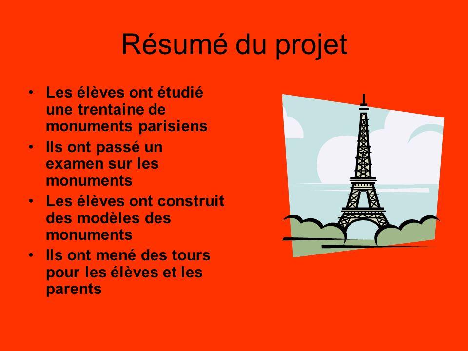 Résumé du projet Les élèves ont étudié une trentaine de monuments parisiens Ils ont passé un examen sur les monuments Les élèves ont construit des modèles des monuments Ils ont mené des tours pour les élèves et les parents