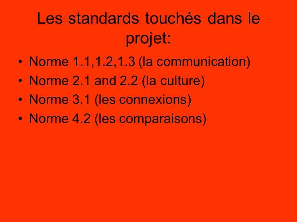 Les standards touchés dans le projet: Norme 1.1,1.2,1.3 (la communication) Norme 2.1 and 2.2 (la culture) Norme 3.1 (les connexions) Norme 4.2 (les comparaisons)