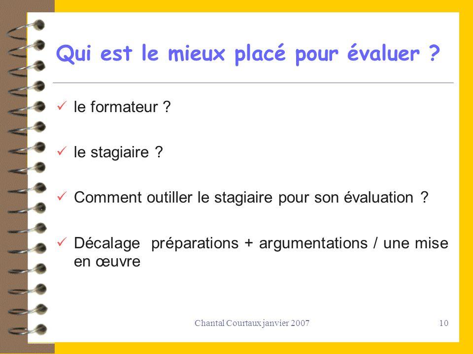 Chantal Courtaux janvier 200710 Qui est le mieux placé pour évaluer ? le formateur ? le stagiaire ? Comment outiller le stagiaire pour son évaluation