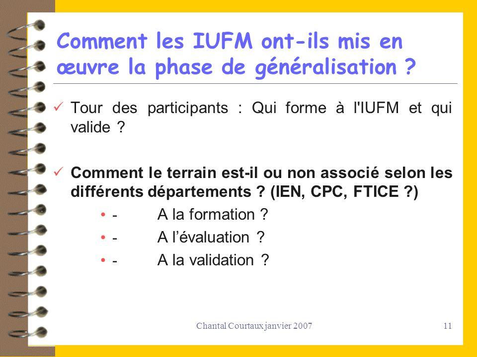Chantal Courtaux janvier 200711 Comment les IUFM ont-ils mis en œuvre la phase de généralisation ? Tour des participants : Qui forme à l'IUFM et qui v