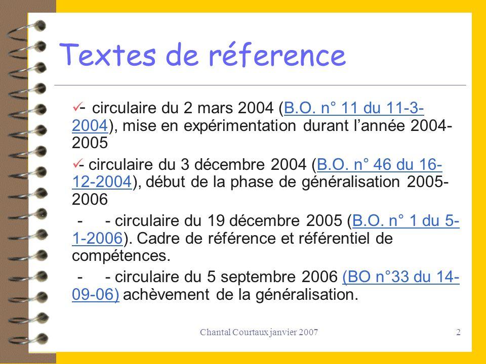 Chantal Courtaux janvier 20072 Textes de réference - circulaire du 2 mars 2004 (B.O. n° 11 du 11-3- 2004), mise en expérimentation durant lannée 2004-