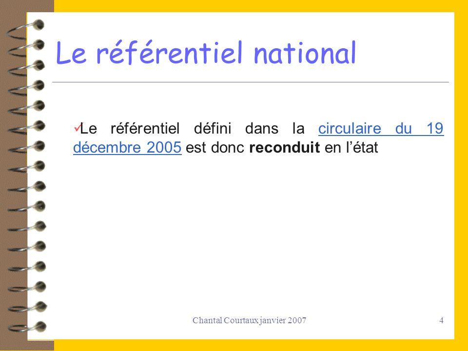 Chantal Courtaux janvier 20074 Le référentiel national Le référentiel défini dans la circulaire du 19 décembre 2005 est donc reconduit en létatcircula
