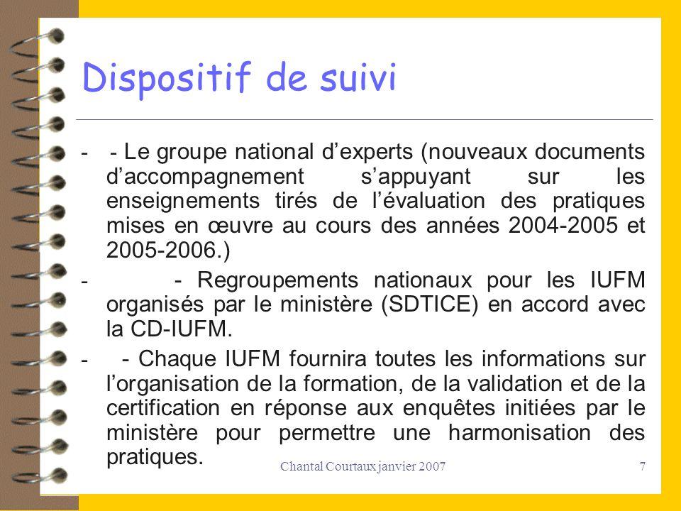 Chantal Courtaux janvier 20078 Groupe national dexperts Il a pour vocation d aider à l harmonisation de l é valuation en IUFM en pr é cisant ce que nous recherchons.