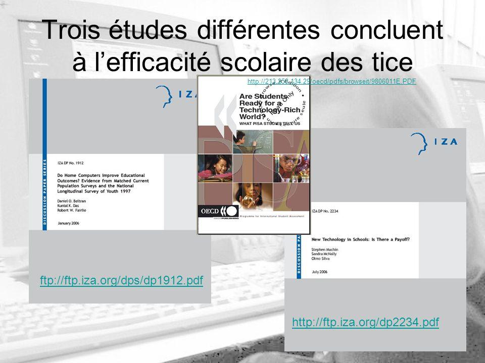 Trois études différentes concluent à lefficacité scolaire des tice ftp://ftp.iza.org/dps/dp1912.pdf http://ftp.iza.org/dp2234.pdf http://213.253.134.29/oecd/pdfs/browseit/9806011E.PDF