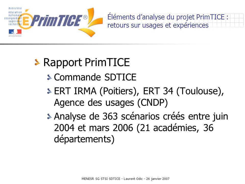 MENESR SG STSI SDTICE - Laurent Odic - 26 janvier 2007 Éléments danalyse du projet PrimTICE : retours sur usages et expériences Rapport PrimTICE Commande SDTICE ERT IRMA (Poitiers), ERT 34 (Toulouse), Agence des usages (CNDP) Analyse de 363 scénarios créés entre juin 2004 et mars 2006 (21 académies, 36 départements)