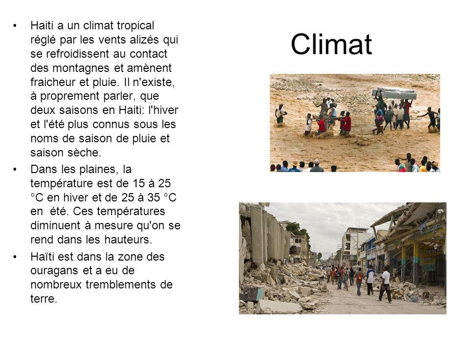 Climat Haiti a un climat tropical réglé par les vents alizés qui se refroidissent au contact des montagnes et amènent fraicheur et pluie. Il n'existe,