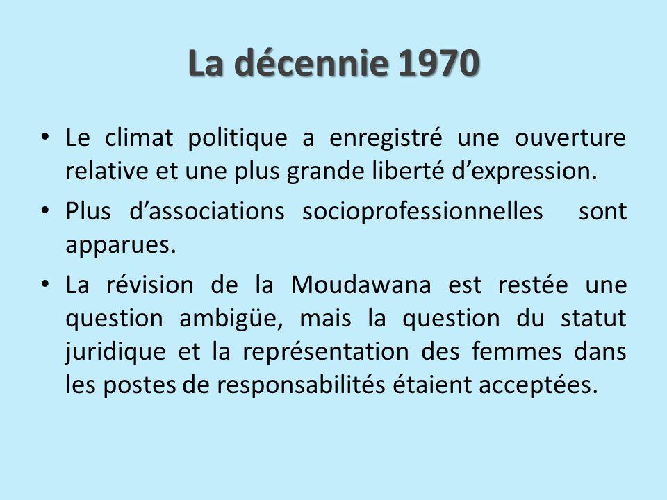 La décennie 1970 Le climat politique a enregistré une ouverture relative et une plus grande liberté dexpression. Plus dassociations socioprofessionnel