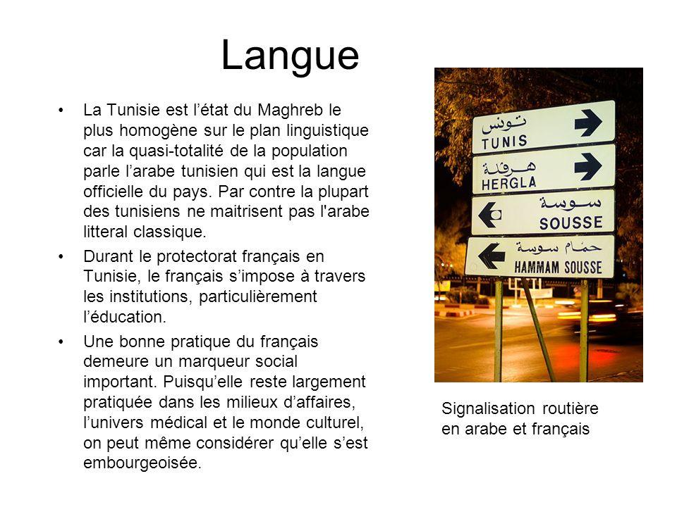 Langue La Tunisie est létat du Maghreb le plus homogène sur le plan linguistique car la quasi-totalité de la population parle larabe tunisien qui est