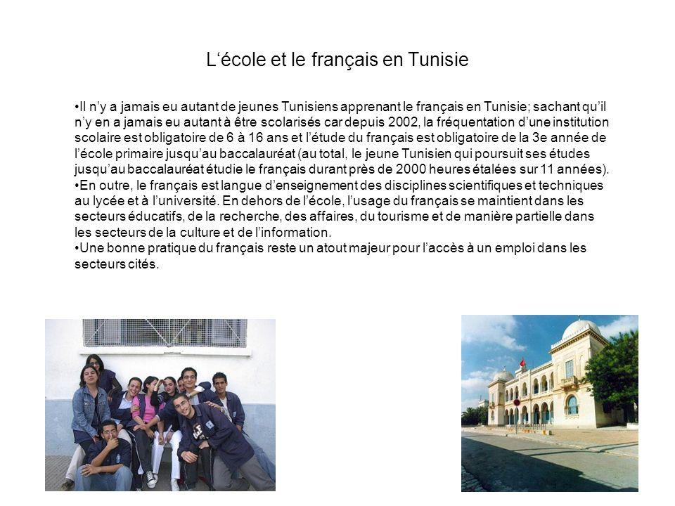 Lécole et le français en Tunisie Il ny a jamais eu autant de jeunes Tunisiens apprenant le français en Tunisie; sachant quil ny en a jamais eu autant