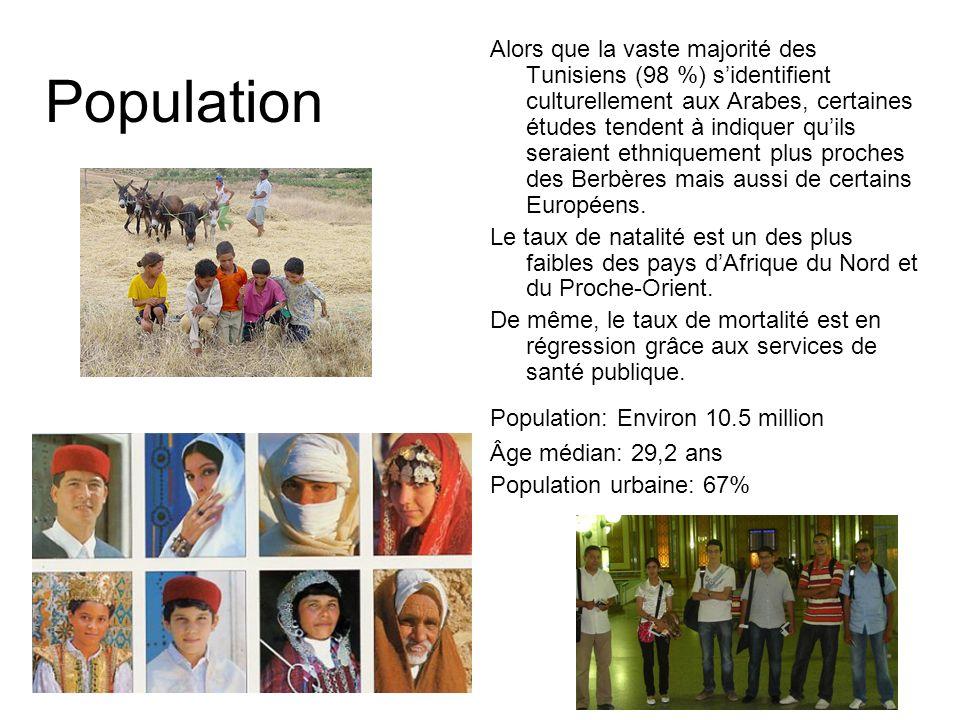 Population Alors que la vaste majorité des Tunisiens (98 %) sidentifient culturellement aux Arabes, certaines études tendent à indiquer quils seraient