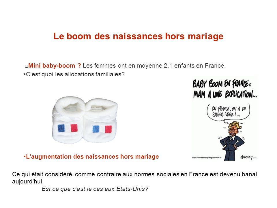 Le boom des naissances hors mariage Mini baby-boom ? Les femmes ont en moyenne 2,1 enfants en France. Cest quoi les allocations familiales? L'augmenta