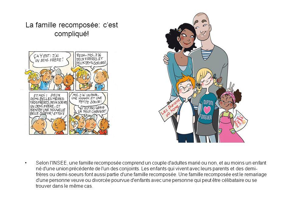 La famille recomposée: cest compliqué! Selon l'INSEE, une famille recomposée comprend un couple d'adultes marié ou non, et au moins un enfant né d'une
